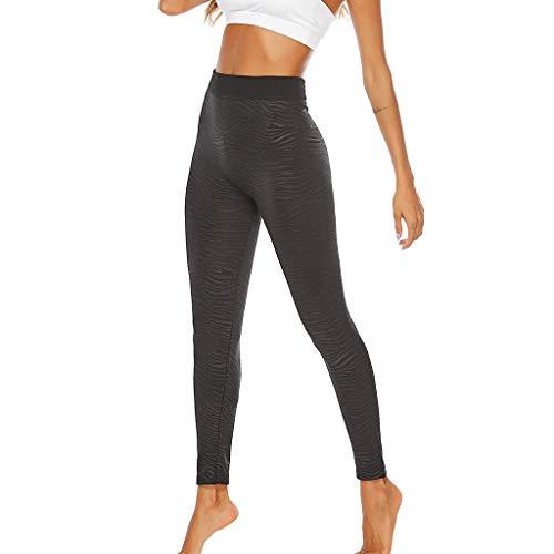 Xmiral Hose Damen Yoga Leggings Einfarbig Hoher Taille Gamaschen Sport Hosen Laufen Joggen Fitnessstudio Trainieren(Schwarz,XL)