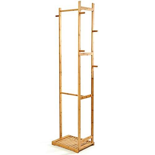 bambuswald© Perchero de bambú sostenible166 x 41 x 31 cmǀPerchero de pie con Varios Barras, Ganchos y Zapatero:Robusto - Estable - Ligero - NaturalǀGuardarropa para Pasillo