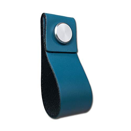 VOANZO 5 STKS Lederen Meubilair Deurkruk Modern Europa Stijl Trek Handvat Knop voor Deuren Kasten Kast Kast Deur Lederen Deurkruk 26x195mm (Blauw)