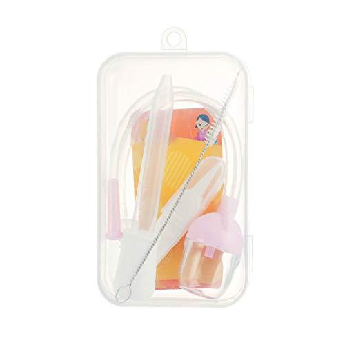 Nariz limpiador aspirador nasal bebé recién nacido Conjunto de Seguridad de succión al vacío Booger Remover con Feeding cuentagotas de plástico transparente pipetas Rosa 1Ponga