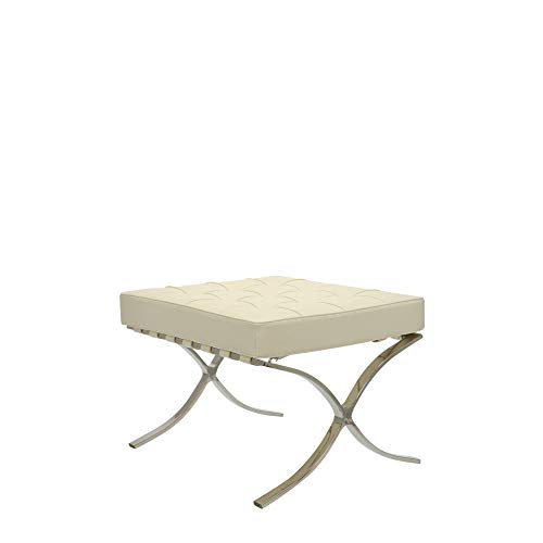 Popfurniture Barcelona Chair Ottoman Fußbank - Hocker aus Kalbsleder und Kunstleder | 62 x 57 x 47 cm | Créme