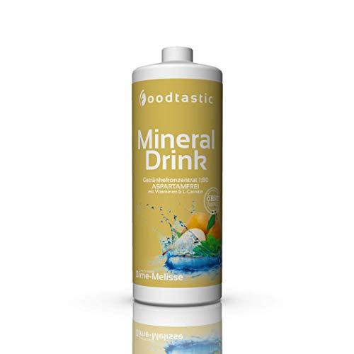 Foodtastic Low Carb Mineral Drink Birne-Melisse, 1000ml Flasche, zuckerarm Vital Getränke Sirup Konzentrat 1:80 zum Mischen in Wasser