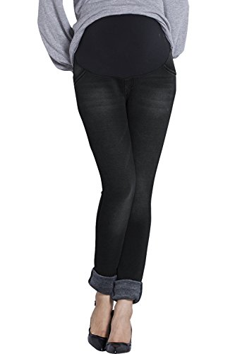 Product Image of the Sweet Mommy Maternity Fleece-Lined Denim Skinny Jeans Black, L