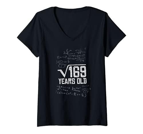 Damen Quadratwurzel aus 169 Jahre alt 13. Geburtstag Mathe-Meme T-Shirt mit V-Ausschnitt