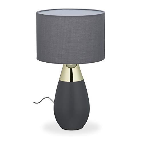 Relaxdays Lámpara para mesita de noche táctil regulable, 3 niveles, E14, altura x profundidad 48,5 x 28 cm, moderna lámpara táctil con pantalla de tela, color gris y dorado