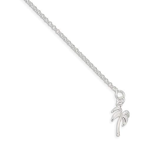 Ryan Jonathan Fine Jewelry Sterling Silver Palm Tree Anklet Chain, 9'