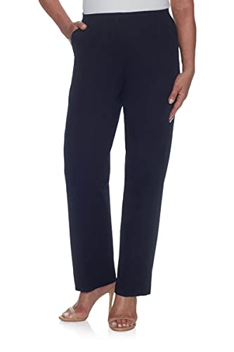 Alfred Dunner Women's Misses Soft Twill Mid-Rise Fit Straight Leg Regular Length Casual Pant, Navy, Size 16