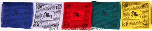BUDDHAFIGUREN/Billy Held Drapeau de prière Tibétain 10 Drapeaux 16 x 15 cm 1,6 m