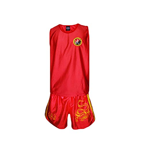 Clenp Conjunto de ropa de boxeo, diseño de dragón Taekwondo Boxeo Muay Thai Unisex sin mangas Top Shorts Set Rojo XXXS