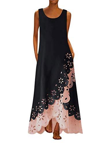 Minetom Damen Elegant Ärmellos Böhmen Farbblock Unregelmäßiger Saum Blumenspitze Lose Cocktail Party Maxi Kleid mit Taschen C Rosa 48
