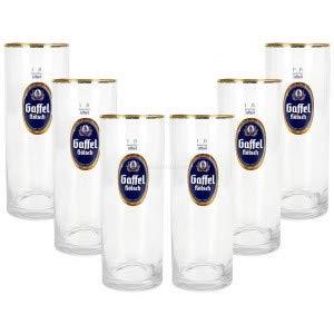 Gaffel Kölsch - Set di 6 Bicchieri da Birra con Bordo Dorato, 0,25 l, Graduati, con Bastone raro + Goldberg Intense Ginger 0,15 l