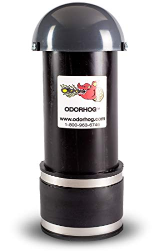 OdorHog Clamp On Vent Stack Pipe Filter 4', Black ABS with Mushroom Cap, Removes Outdoor Septic and Sewer Odor Problems
