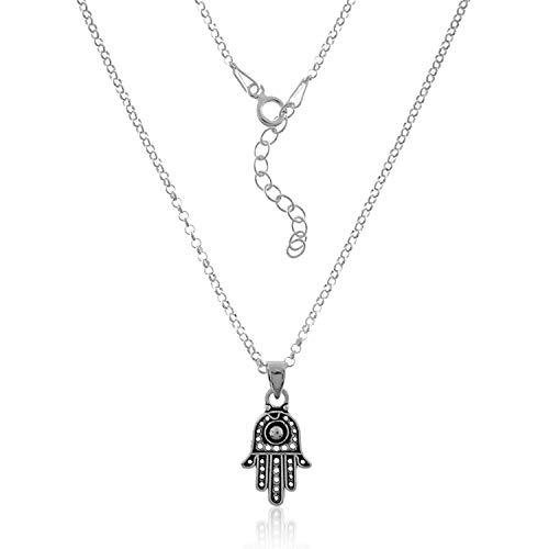 VITAL ARGENT Collana con mano di Fatima in argento, mano di Fatima, ciondolo protettivo, collana in argento Sterling