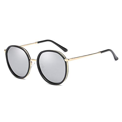 XFSE Gafas de sol New Trend con montura redonda para mujer polarizadas, protección UV400, marco negro (color: plata)