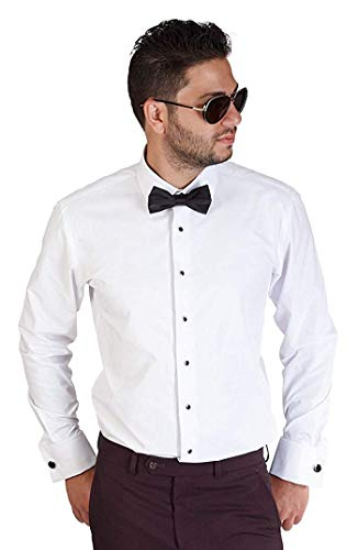 AZAR MAN Slim fit Lay Down Spread Collar French Cuff Tuxedo Shirt 15 Medium White