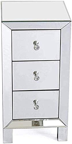 H-CAR Modern Mirrored 3-drawers Bedside Table Glass Cabinets Nightstand Side Table Contemporary Narrow Bedside Table Cabinet White (Color : White, Size : 30 X 30 X 60cm)