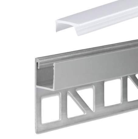 LED Aluminium Fliesenprofil F4 Chara 2 Meter inkl. Abdeckung Opal (milchige Abdeckung) LED Fliesenprofil 2m LED Fliesenabschlussprofil f. 10mm Fliesenstärke