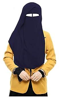 bonballoon Dark Blue XL Long Saudi Layered Niqab Niqabs Nikab Naqaab 3 Layers Burqa Hijab Hijab Face Cover Veil Islam Islamic Dress Clothing for Muslim Women Womens Abaya Jilbab Dress