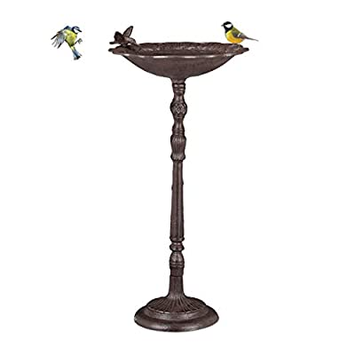 Relaxdays, Brown Cast Iron Bath with Stand, Garden Decor, Bird Feeder, Water Bowl, 74.5 cm Tall by Relaxdays