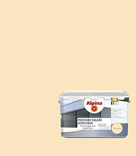 ALPINA Peinture façade - Acrylique - Garantie 5 ans - Mat Ton Pierre 2,5L 23m²