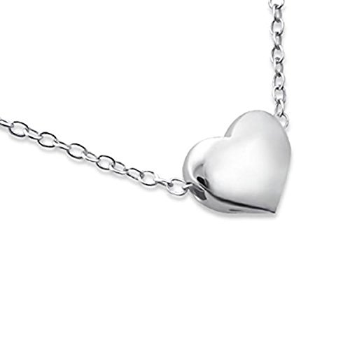 Sterling Silver Love Heart Necklace (Tiny and Discreet) Gift