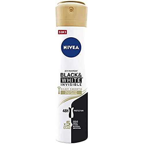 NIVEA Black & White Invisible Silky Smooth Spray, 1 x 200 ml, desodorante antitranspirante para una piel suave, desodorante spray para proteger la ropa
