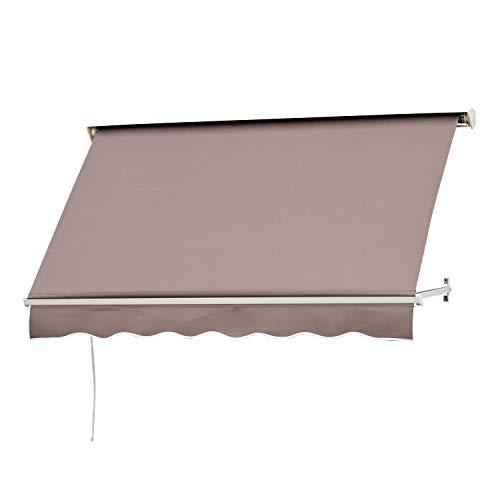 Outsunny Store banne Manuel Inclinaison réglable Aluminium Polyester imperméabilisé 70L x 180l cm Taupe Clair