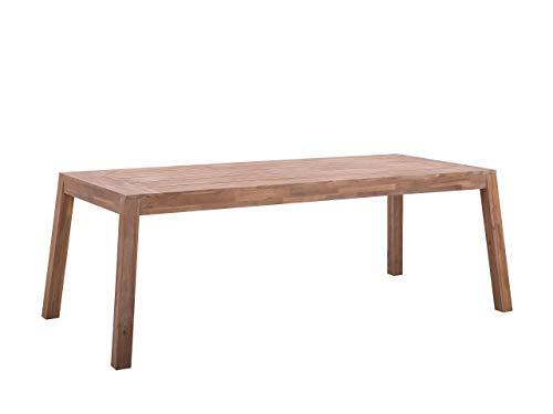 Beliani Gartentisch aus zertifiziertem Akazienholz 210 x 90 cm Rustikaler Stil Livorno