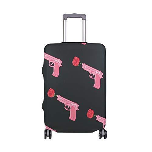 Funda Protectora de Maleta de Viaje de Elastano con diseño de Pistola, Color Rosa con Rosa, para Adultos y Mujeres, Hombres y Adolescentes, se Adapta a 18-20 Pulgadas