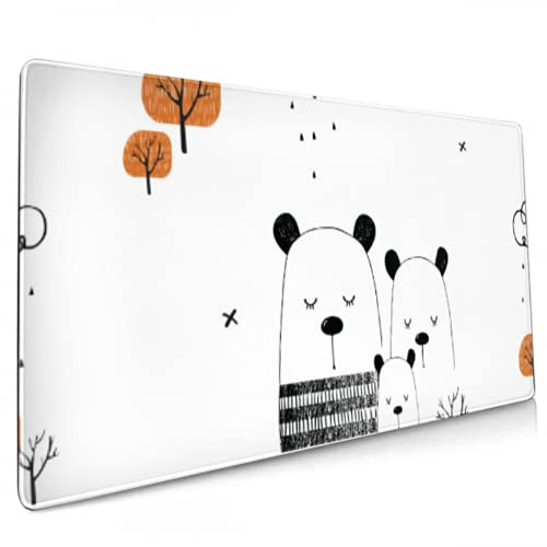 Gaming Mouse Pad Cute Bears Forest Hand Large Mouse Pad for Desk Large Big Computer Keyboard Mouse Mat Desk Pad Non-Slip Pad for Home Office Gaming Work, 35.4x15.7in