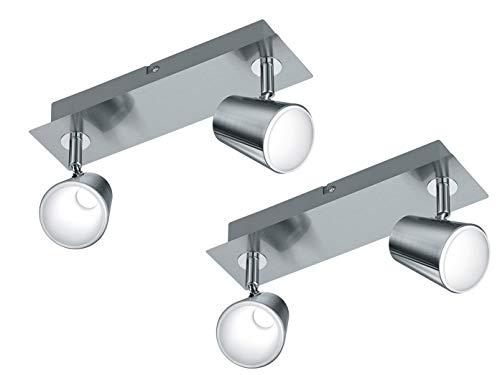 Lot de 2 spots muraux modernes à 2 spots LED en nickel mat - Spots rotatifs et orientables avec interrupteur - Éclairage mural flexible