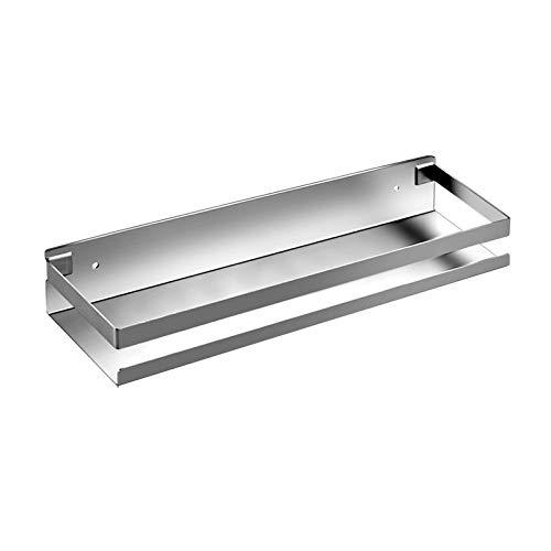 XGzhsa Estante para baño, estante para ducha, estante de cocina de acero inoxidable 304, estante para especias montado en la pared sin taladrar para cocina, baño (30 cm, plateado)