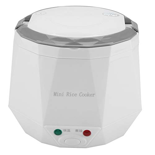 2 Cup Mini Reiskocher Steamer 12 V 100 Watt 1.3L Tragbarer Reiskocher Multifunktions Dampfer für Autos(White)