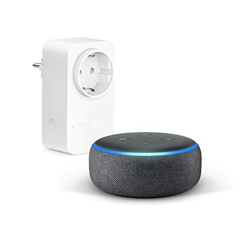 Echo Dot (3ª generazione) - Tessuto antracite + Amazon Smart Plug (presa intelligente con connettività Wi-Fi), compatibile con Alexa