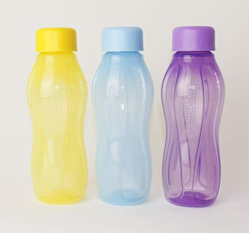 TUPPERWARE EcoEasy to Go Trinkflasche EcoEasy Ökoflasche 3X 310ml GELB/Pastell BLAU/LILA Flasche + Kugelschreiber