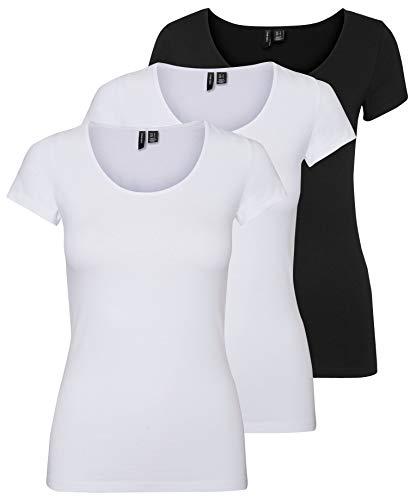 VERO MODA Vmmaxi My Ss Noos - Camiseta de manga corta para mujer, blanco/negro (2 blanco brillante/1 negro)., XL