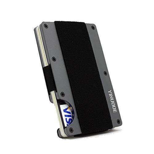Minimalist Aluminum Wallet, Slim Metal Wallet RFID Front Pocket Wallet Gray