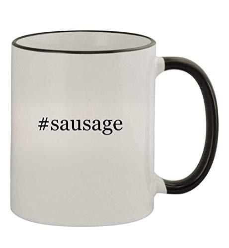 #sausage - 11oz Colored Handle and Rim Coffee Mug, Black