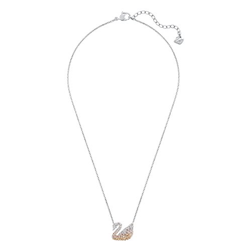 Swarovski Women's Iconic Swan Necklace, Finely Cut Stones with a Swan motif and a Rhodium Plated Chain, from the Swarovski Iconic Swan Collection