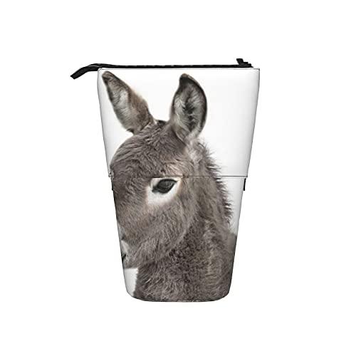 Soporte para lápices, estuche telescópico con cremallera multifuncional bolsa de maquillaje suministros estacionarios bolsa bebé burro
