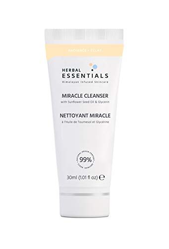 HERBAL ESSENTIALS TRULY NATURAL Miracle Cleanser with Vitamin E, Lemongrass and Sunflower Seed Oil, 99% Natural Daily Morning Face Cleanser Rich in Natural Vitamins and Antioxidants, 30ml