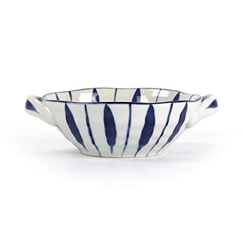 Tazón Tazón de sopa japonesa tazón de porcelana tapa vajillas arroz bowl de imitación de Corea del retro tazón de sopa de cerámica de 7,5 pulgadas oídos vajillas hogar, tazón retro (Color : B)