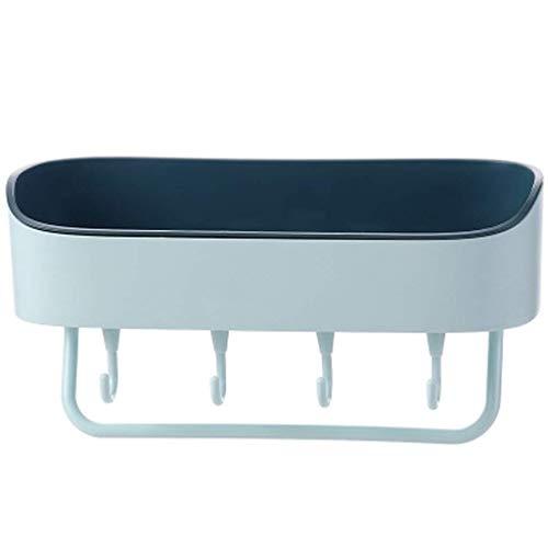 Estante de baño 2 Piezas de Doble Capa Montaje en Pared Estante de Almacenamiento para baño sin Perforaciones toallero Impermeable a Prueba de Humedad (Color: Azul Claro)