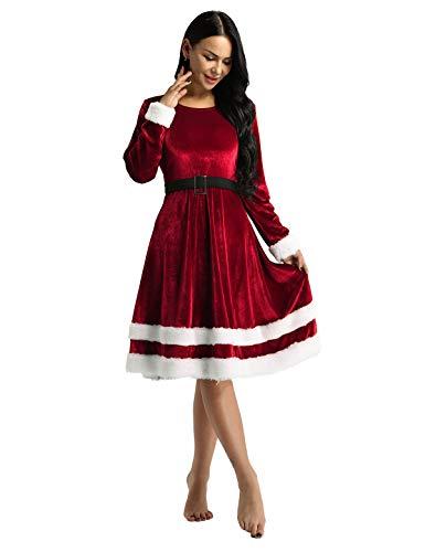 TiaoBug Vestito Natalizio Donna Babbo Natale Vestito Rosso Verde in Velluto Costume di Elfo Natale Partito Miss Santa Christmas Vestito di Natale a Maniche Lunghe S-5XL Rosso XXL