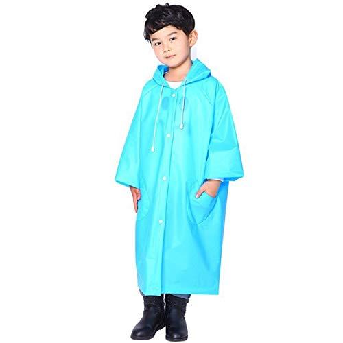 XINGRUI Rain Gear Supplies Mode Enfants Léger EVA Transparent Cape Imperméable Grand Chapeau avec Poche Taille: XL (Rose) (Color : Blue )