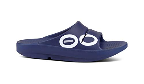 OOFOS - Unisex OOahh - Post Exercise Active Sport Recovery Slide Sandal - Navy Sport - M12/W14