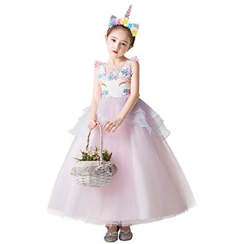 OBEEII Vestido de Unicornio Niña Tutu Fiesta de Tul con Unicorn Cuerno Diadema y Alas 4-14Años