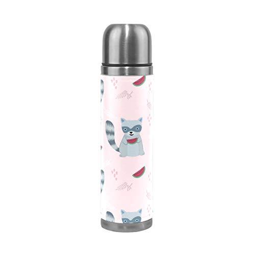 LDIYEU Süße Waschbär Rosa Wassermelone Sport Wasserflasche Edelstahl Trinkflasche Thermoflasche Thermoskanne 500 ml Auslaufsichere Flasche Leder Verpackung Sportflasch