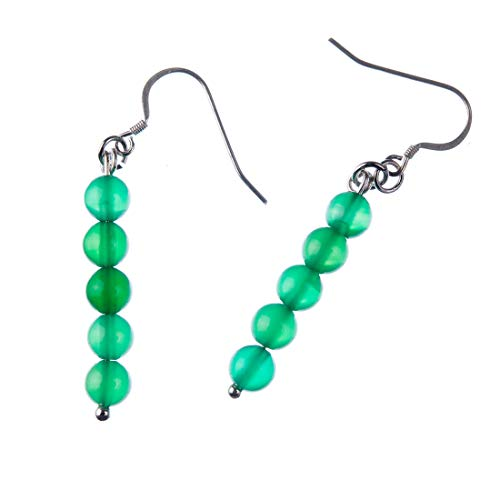 Pendientes de bolas de ágata verde de 6 mm y plata 925