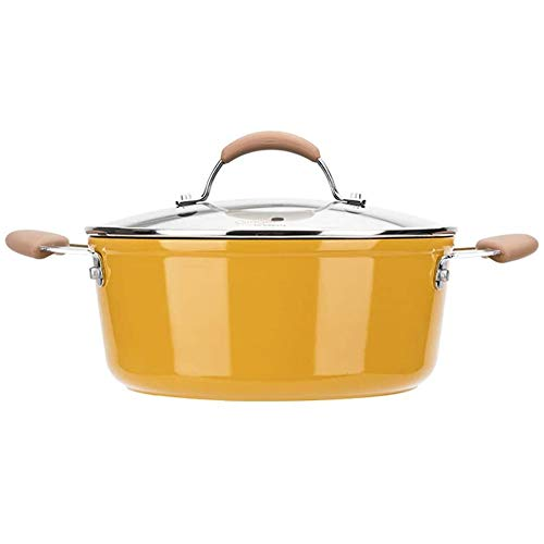 Soup Pot Steel Stockpot with Glass Lid, 4 Quart Stock Pot, Non-Stick Stewing Pot with Lid, Induction Ready, for 3-5 People Use, Boiling, Frying, Stewing, Steaming
